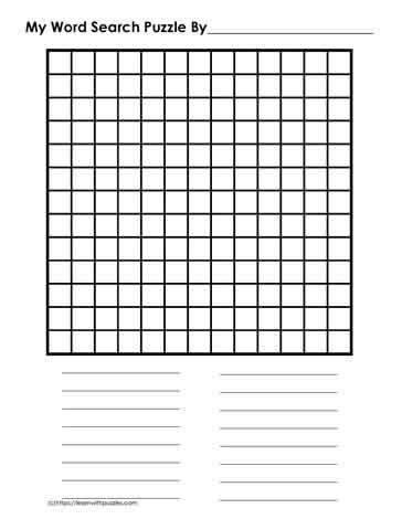 13 x 13 Blank Word Search Grid Learn With Puzzles