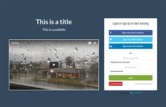 Video zone example for landing page
