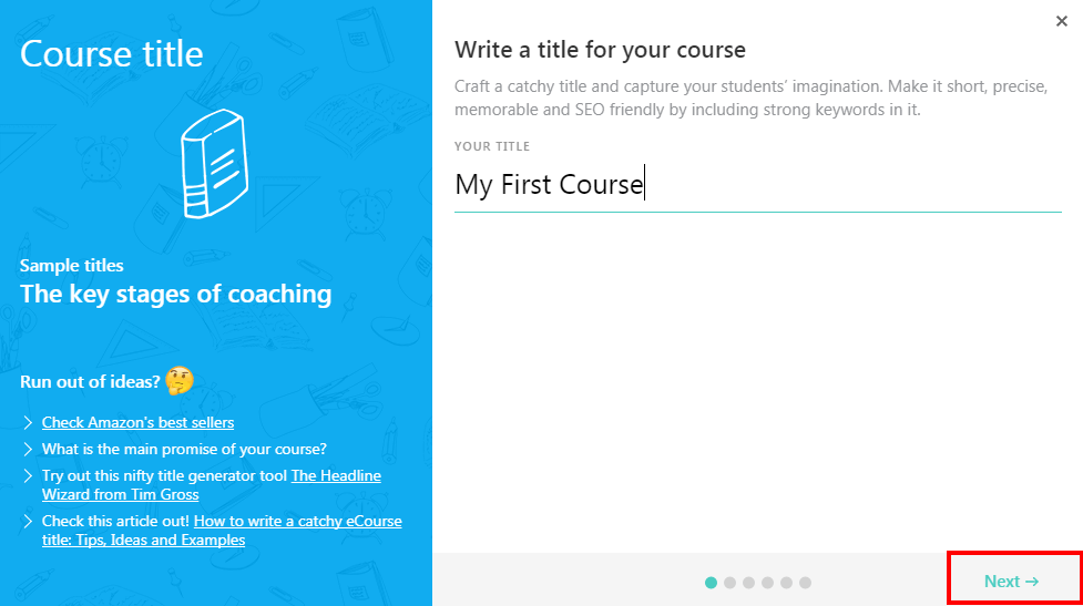 Creating a Course Wizard