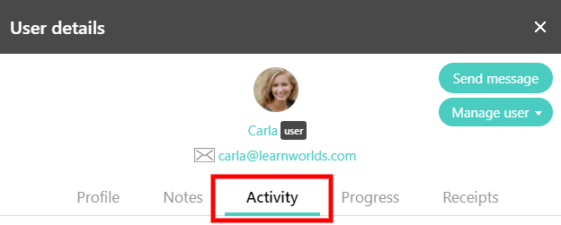 User Activity tab