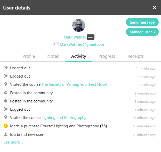 Detailed view of a user's activity
