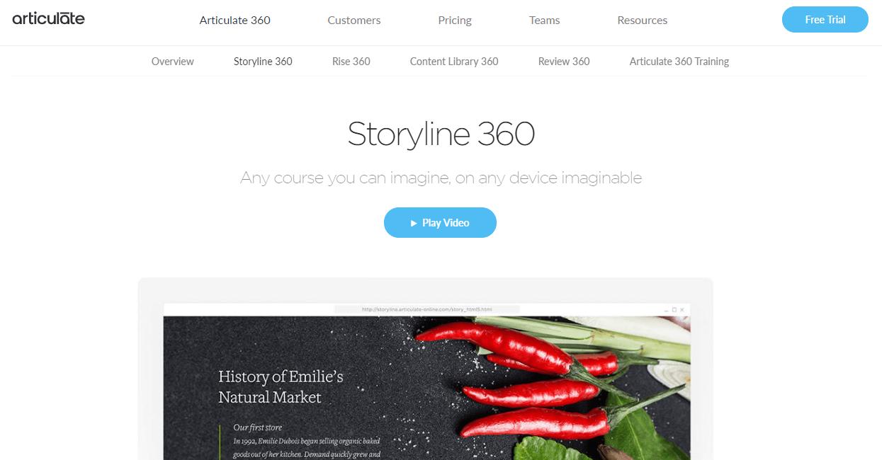 A screenshot showing a part of Articulate Storyline's website.