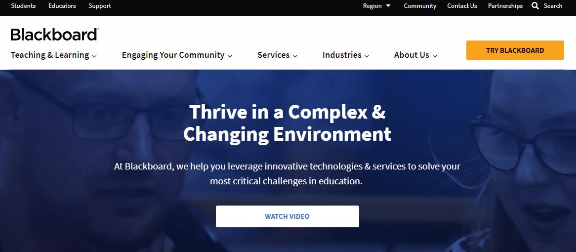 A screenshot showing a part of Blackboard's website.