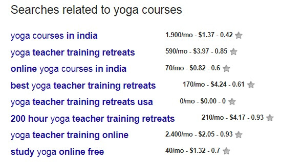 searches for yoga course