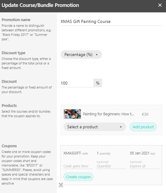 A screenshot showing the steps to create a coupon code in LearnWorlds.