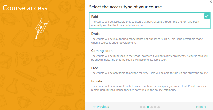 A screenshot showing the second step of the course creation wizard in LearnWorlds.