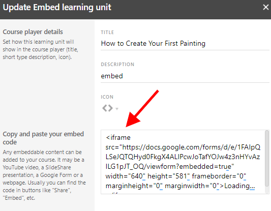A screenshot showing the embed code of a learning unit in LearnWorlds.