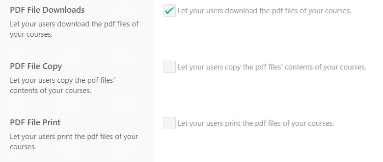 PDF security settings LearnWorlds