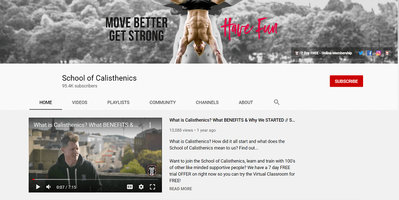 A screenshot showing parts of the School of Calisthenics YouTube channel.