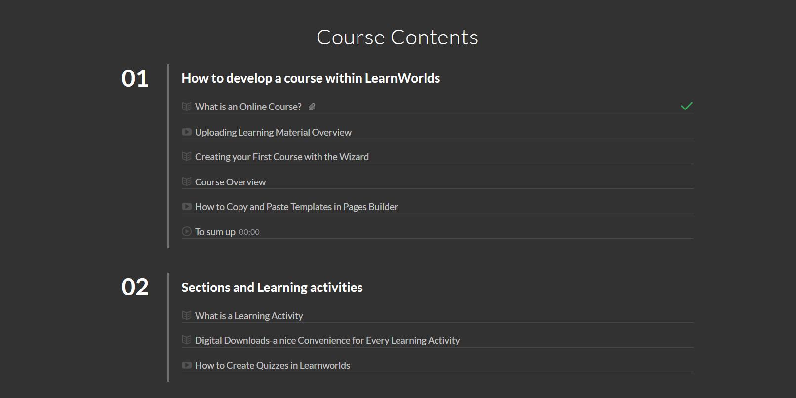course content template screenshot
