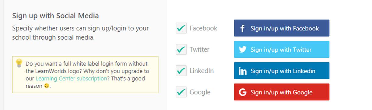 choose social logins