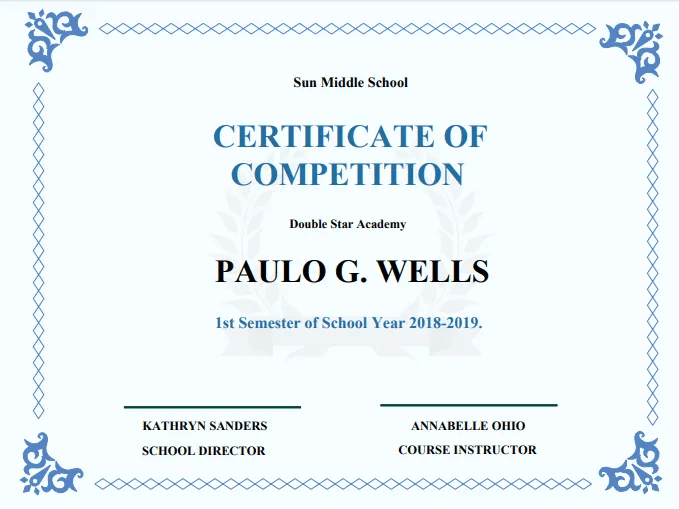 Example of a certificate of completion.