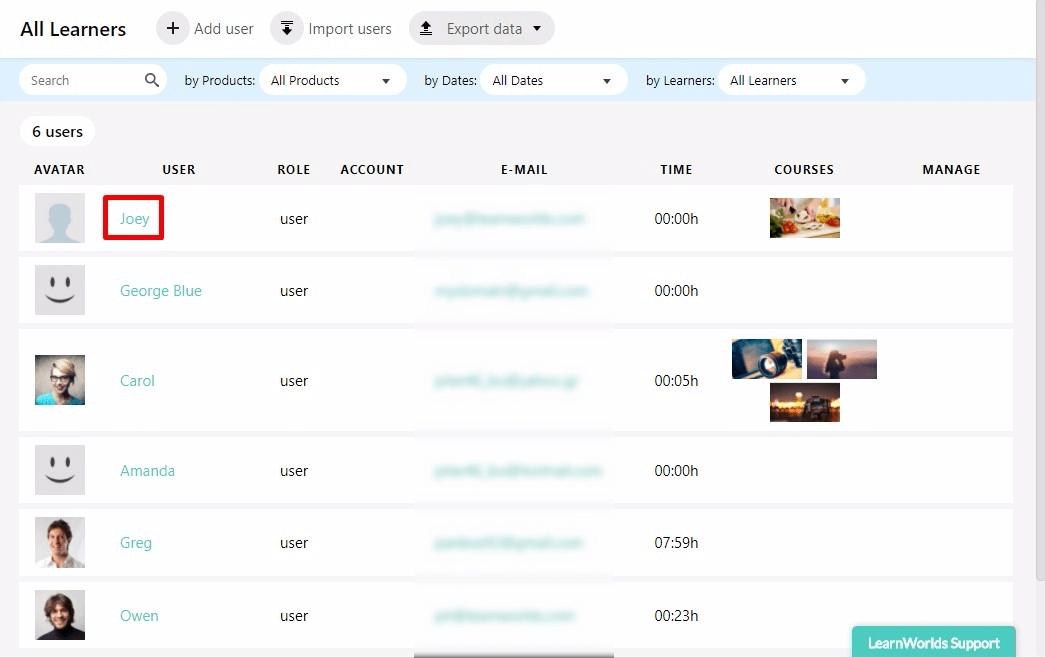creenshot example of user activity in online courses.