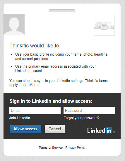 thinkific linkedin login non-white-label