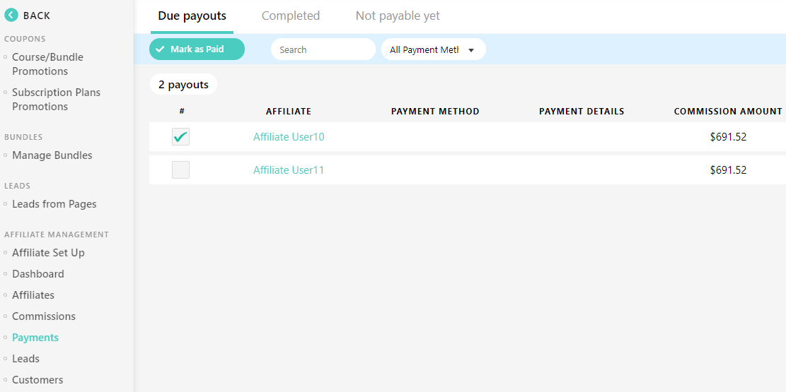 affiliate payouts reporting