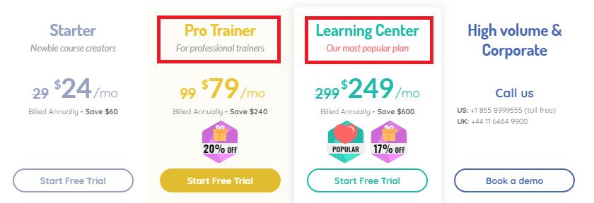 LearnWorlds plans