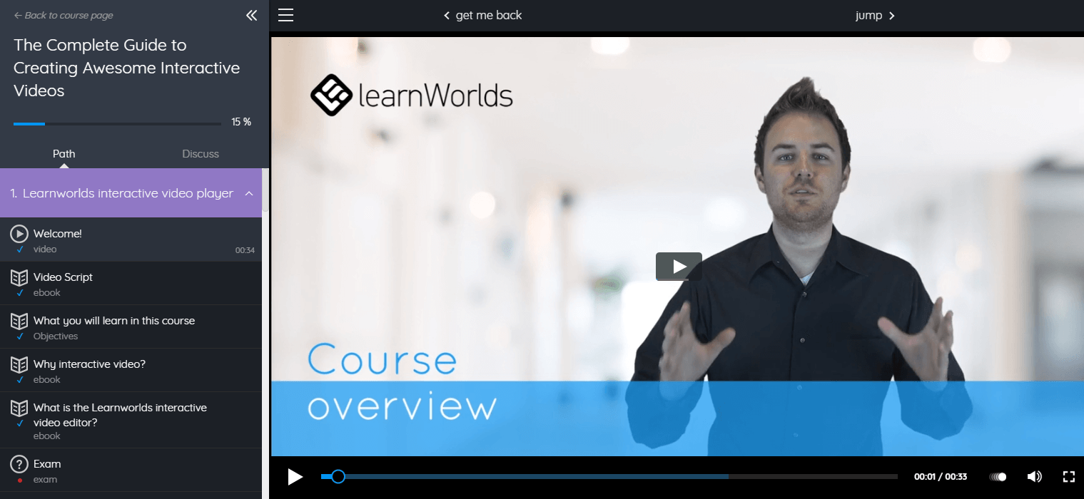 A screenshot showing LearnWorlds' modern course player in an example video course.
