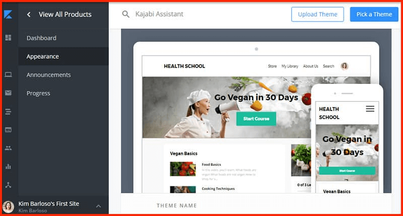 a screenshot showing the page creation view inside kajabi