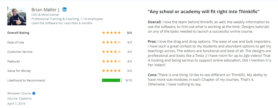 Thinkific review on Capterra