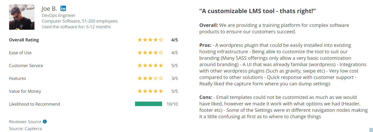 LifeterLMS review on Capterra