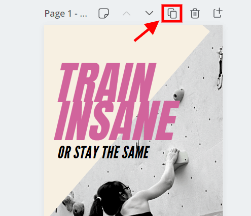 A screenshot showing how to duplicate a page in Canva.