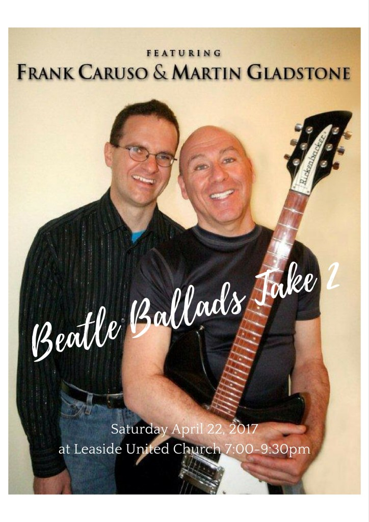 Beatle Ballads at Leaside United – Saturday April 22, 2017