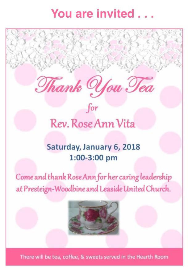 Thank You Tea for Rev. Rose Ann Vita