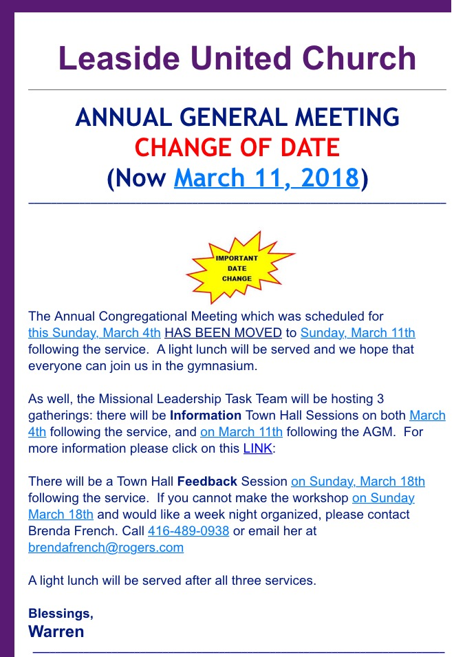 Important Date Change for the AGM