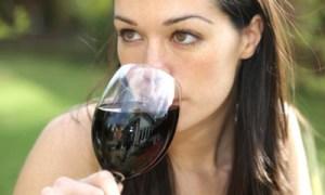 girl drinking red wine