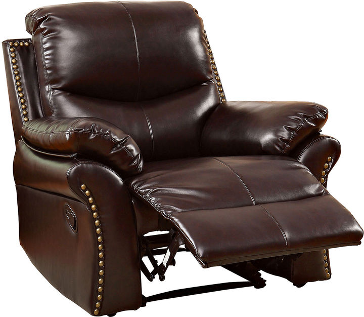 abbyson leather sofa extra firm cushion foam asstd national brand dunlap faux-leather recliner ...