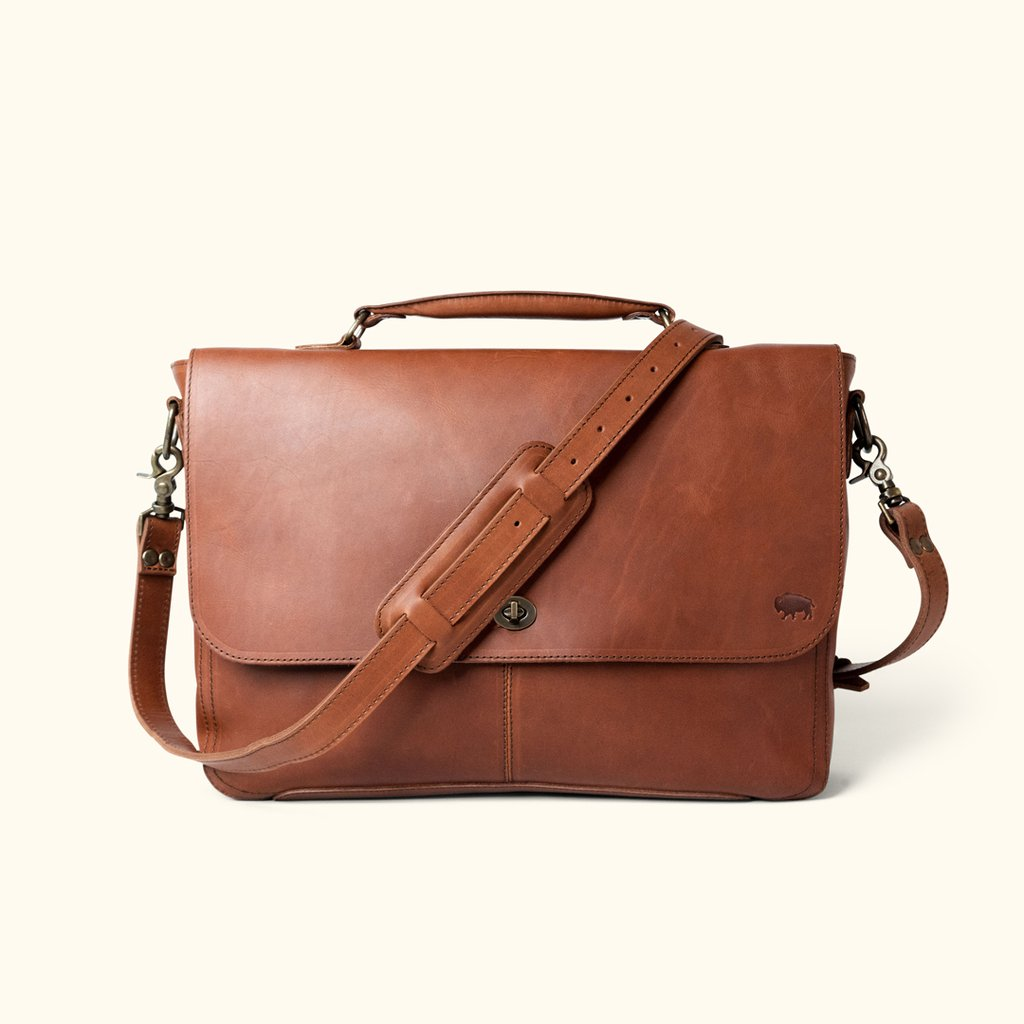 NEW Kenneth Cole Genuine Leather Briefcase Brown Laptop Lawyer Messenger Bag