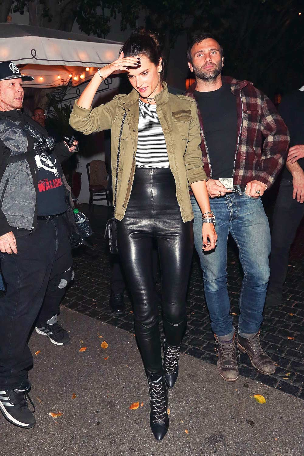 Alessandra Ambrosio dinner at Chateau Marmont  Leather