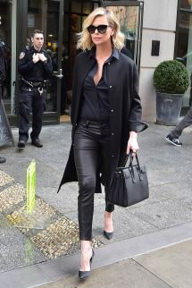 Charlize Theron Leaves Hotel - Leather Celebrities