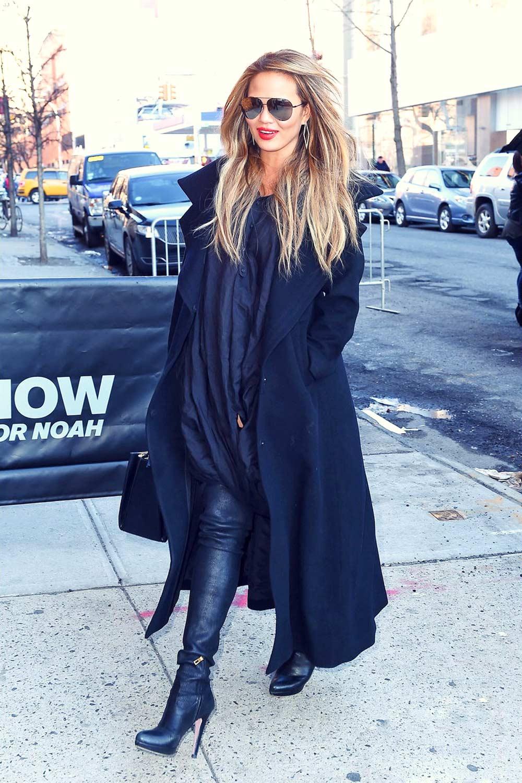 Chrissy Teigen In New York City Leather Celebrities