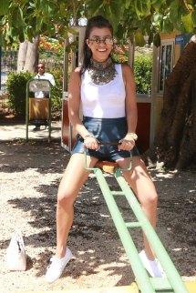 Kourtney Kardashian Visit Park In Havana - Leather