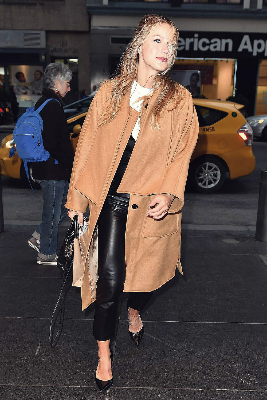 Melissa Benoist arrives back at her hotel  Leather
