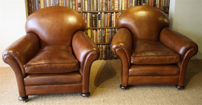 reupholster leather sofa cheap rattan sofas uk 1920's/30's classic tan pair of club chairs ...