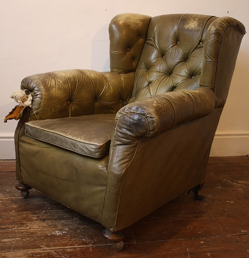 leather chairs of bath london seat lifts for wing chair club late victorian buttoned low armchair