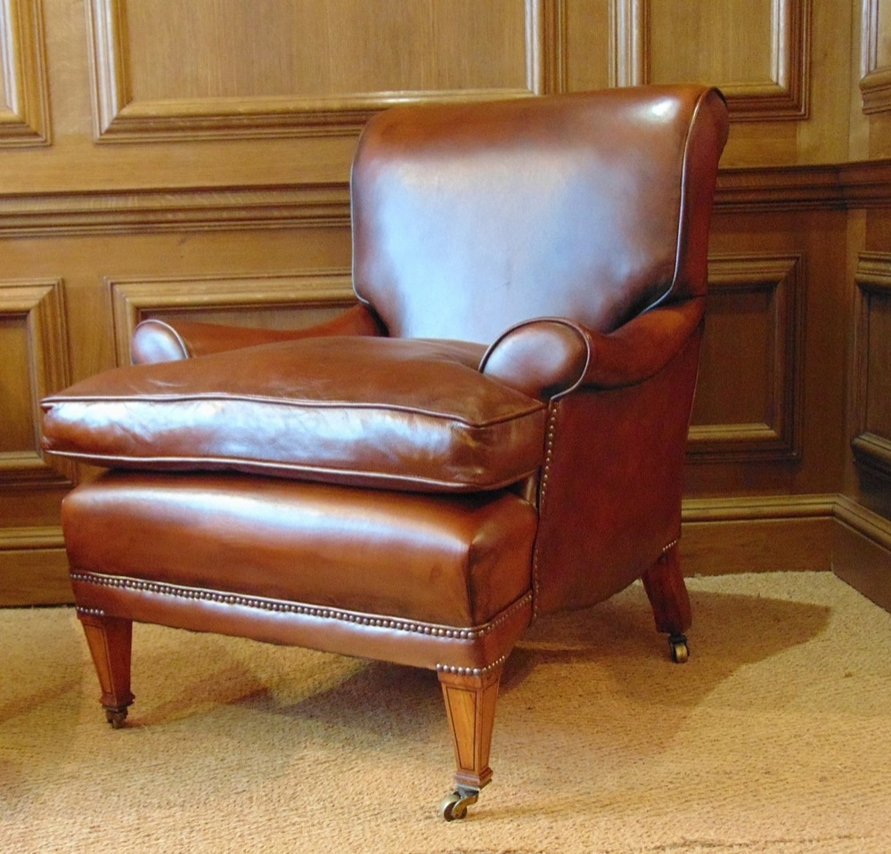 leather chairs of bath london nailhead dining chelsea design quarter antique library chair with cherrywood legs boxwood inlay