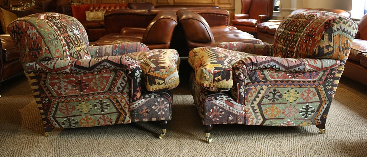 Leather Chairs of Bath Istanbul Kilim Lansdown Pair of