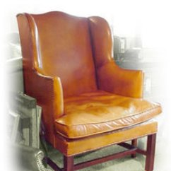 Wingback Chair Uk Squatters Covers Brisbane Leather Chairs English Antique Chapman Wing In