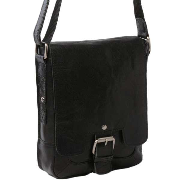 Mens Leather Flight Bag Black Crum 8341 Bags