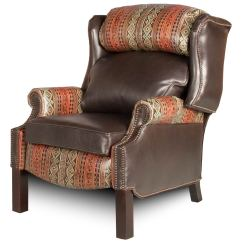 Country Style Wingback Chairs Leather Living Room Chair With Ottoman Recliner Hill Collection