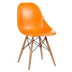 Orange Dining Chairs Uk Metal Arm Eames Inspired Moulded Chair