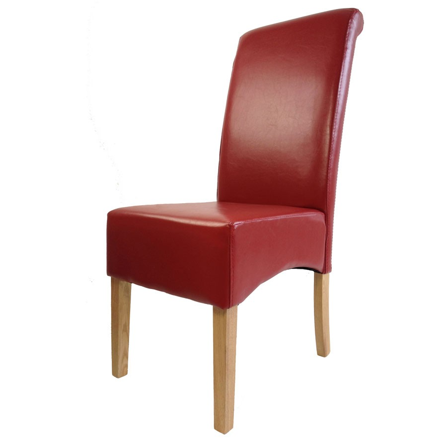 Padstow Red Leather Dining Chair  Red Leather Dining