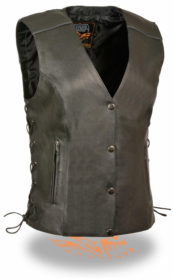 Ladies Black Leather Club Biker Vest with Reflective Piping