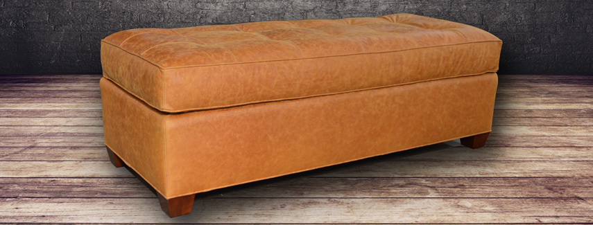 leather ottoman full grain and top