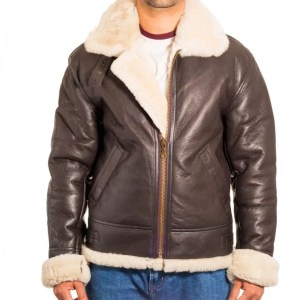 Men's Dark Brown B-3 Aviator White Sheepskin RAF Pilot WW2 Flying Bomber Jacket