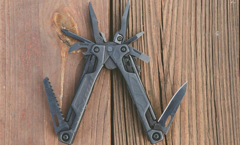 Leatherman OHT multi-tool, black, 16 tools, open view