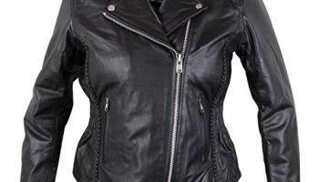 1e959b48b9b Xelement B8005 Ladies Classic Cruiser Leather Braided Motorcycle Black  Jacket - Medium